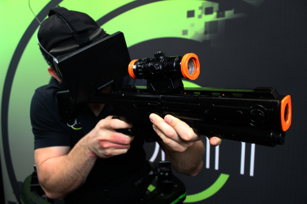 virtuix omni, omnidirectional treadmill, virtual reality, oculus rift, vr-gun