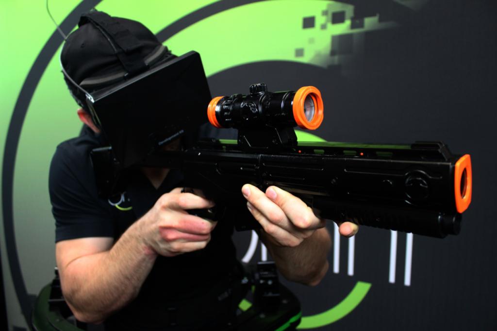virtuix omni, omnidirectional treadmill, virtual reality, oculus rift, vr-gun