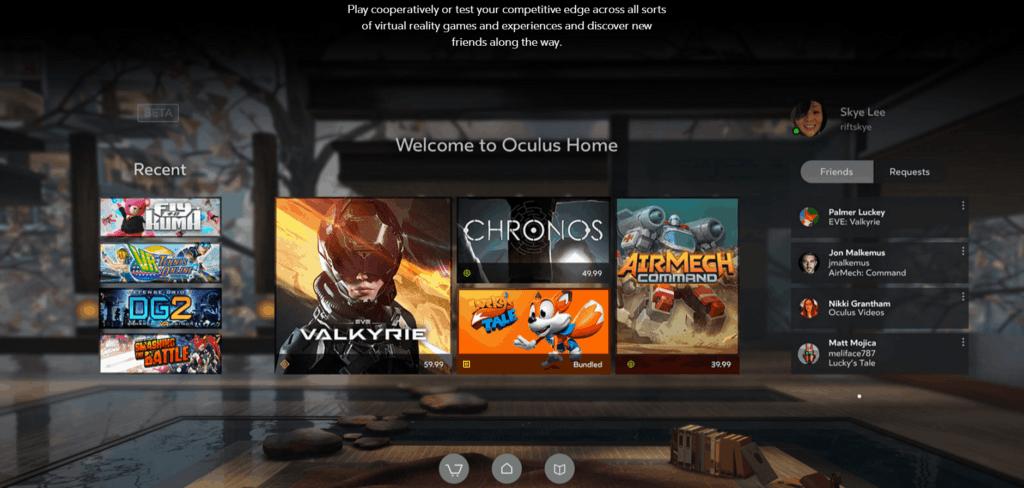 Oculus Home Softwareauswahl