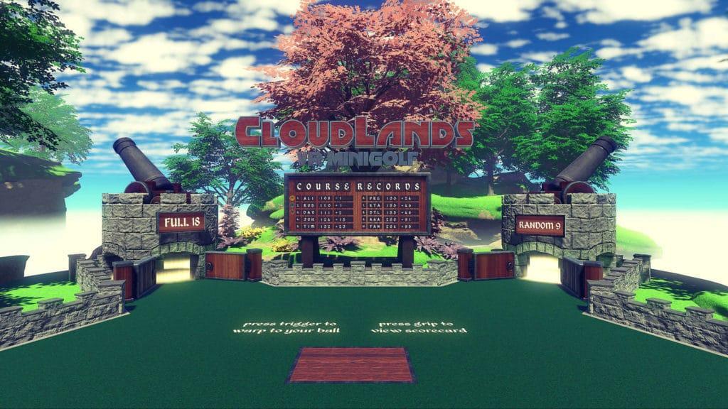 Cloudlands: VR Minigolf Startbildschirm