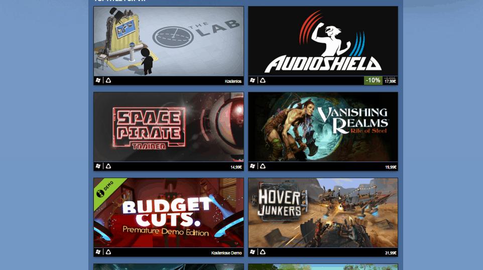 Spiele für die HTC Vive