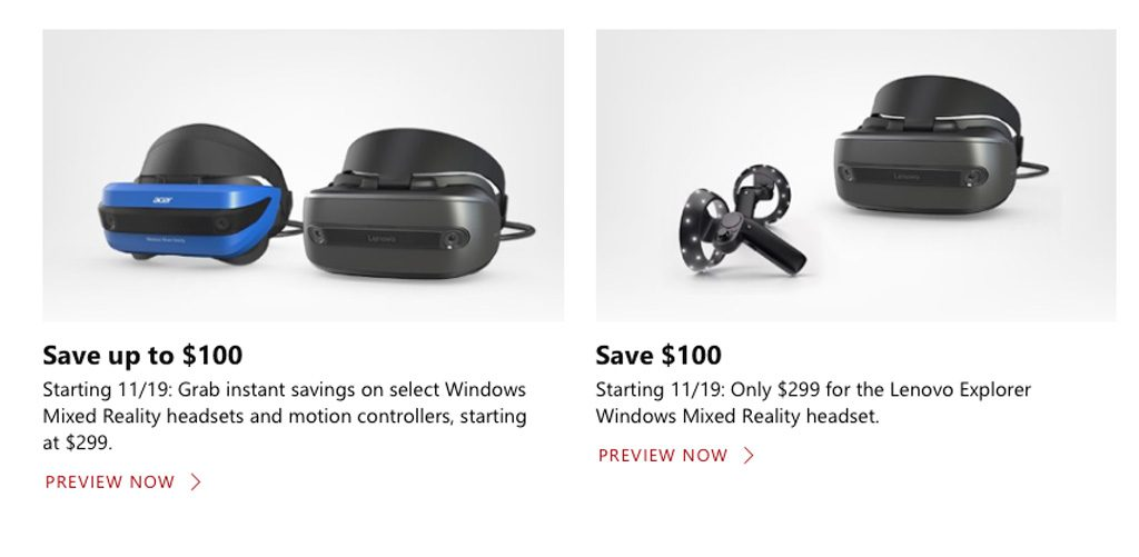 Black Friday Windows Mixed Reality