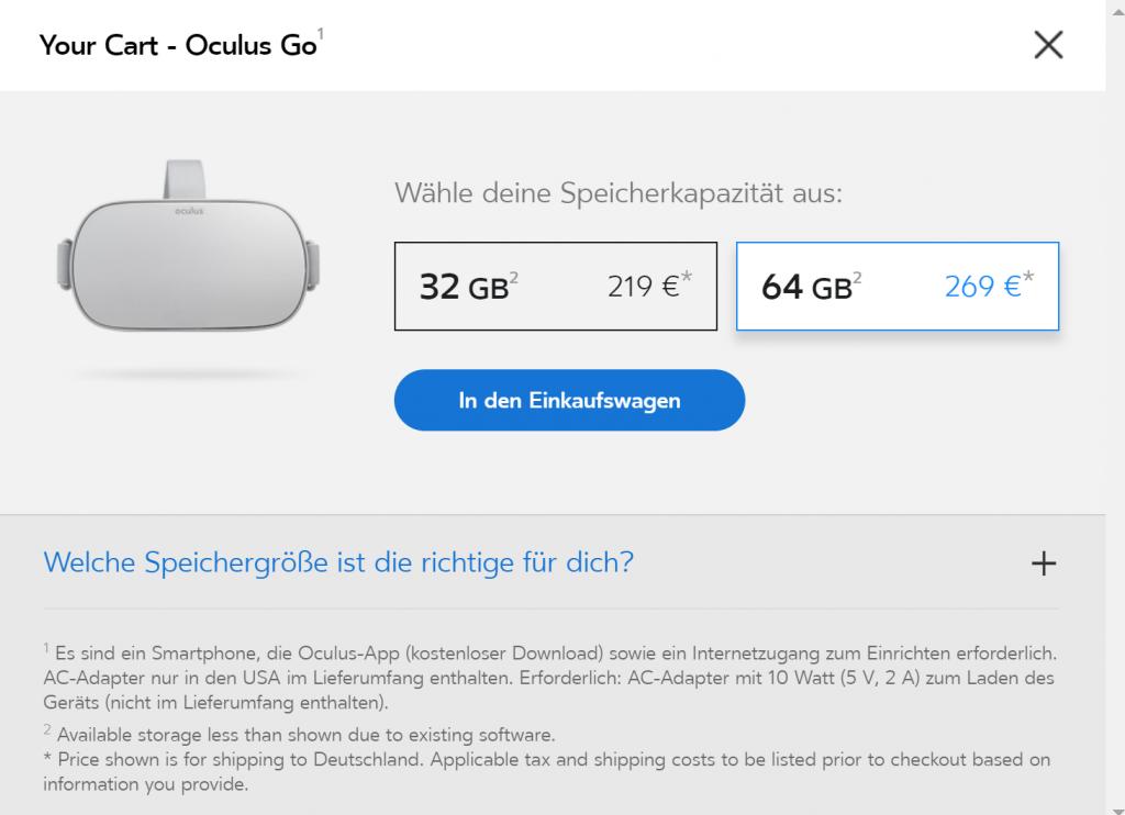 Oculus Go Varianten