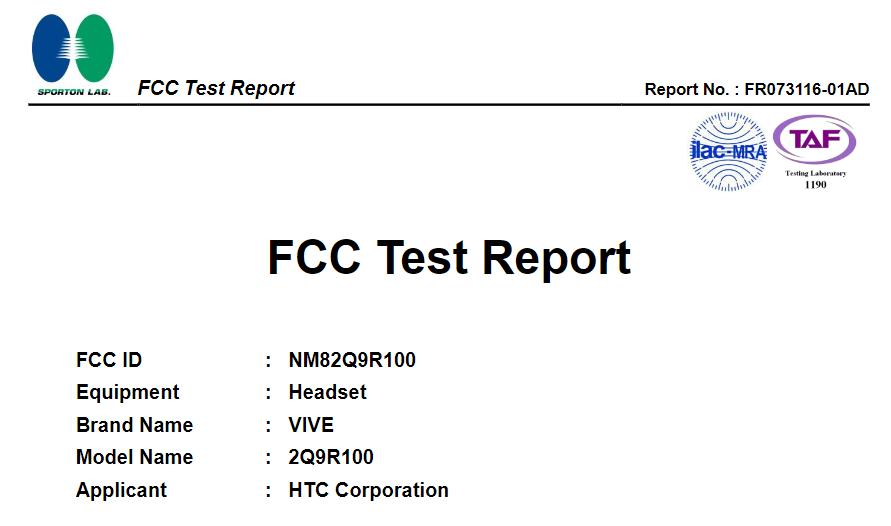 HTC Vive Focus FCC