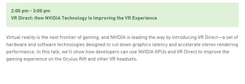 VR Direct Nvidia, GDC 2015