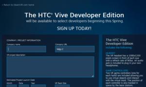 HTC Vive Dev Kit Anmeldung