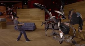 Spider-bot scheint der Endgegner von Dan zu sein. So stellt sich Microsoft Gaming mit der Hololens vor.