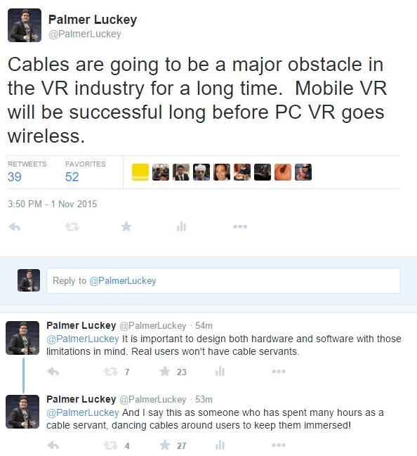 Kabel an Virtual Reality Headsets