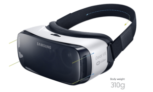 Gear VR Produktbild zeigt die Halterung und das Gewicht