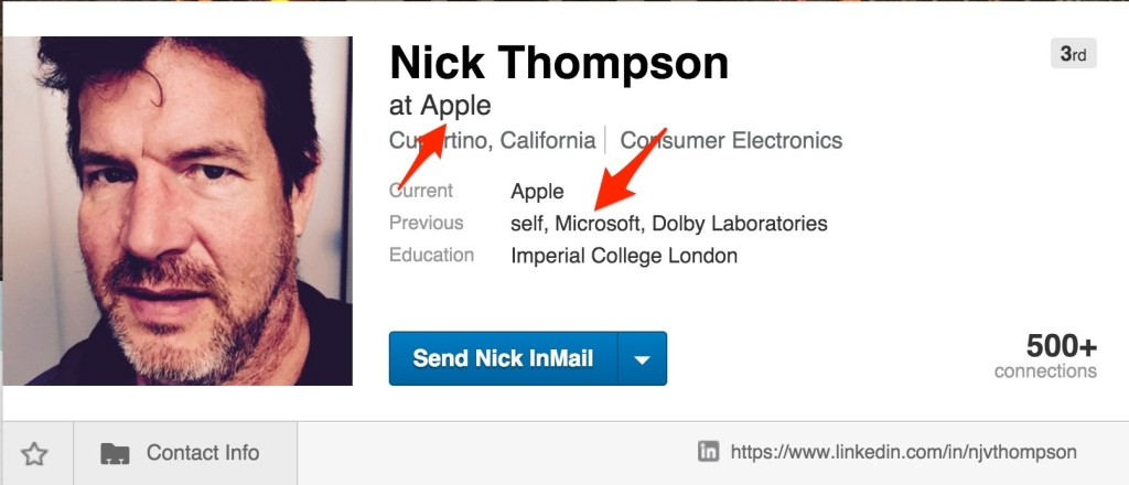 Linkedin Profil Nick Thompson