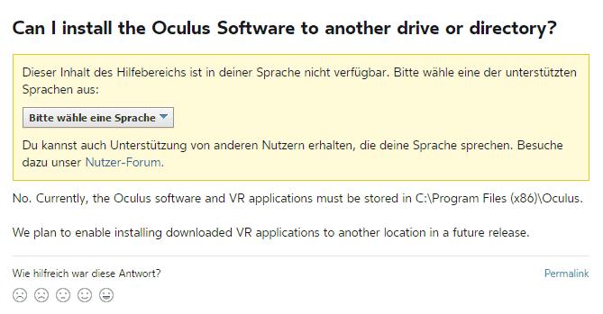 Oculus Store vorerst nur auf Laufwerk C installieren