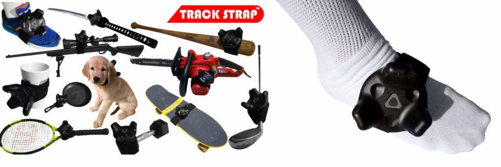 Das TrackStrap passt nicht nur an die Füße, sondern auch beispielsweise an Kettensägen, Hunde und Katzen.